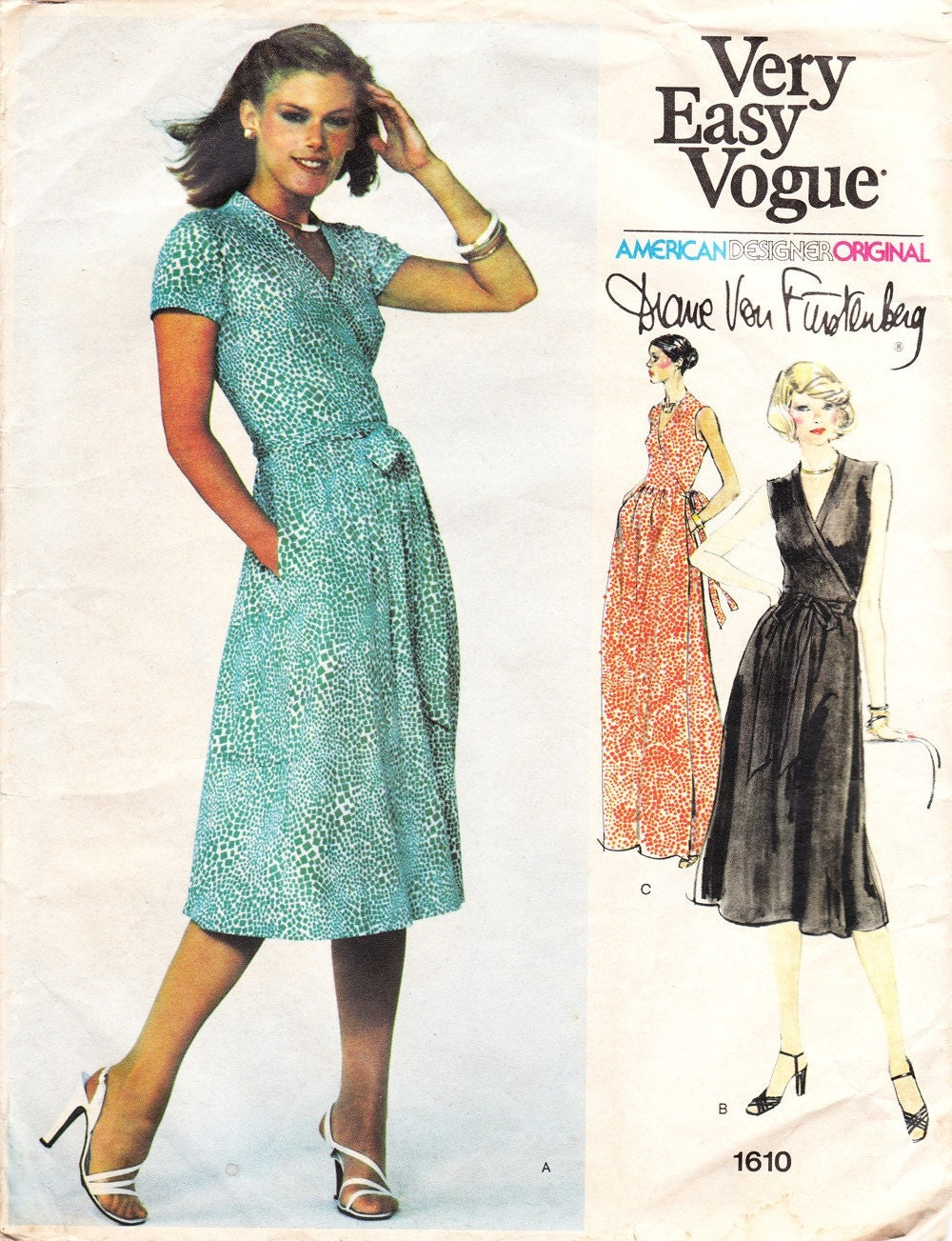 Vintage Diane Von Furstenberg Wrap Dress Pattern Vogue 1610