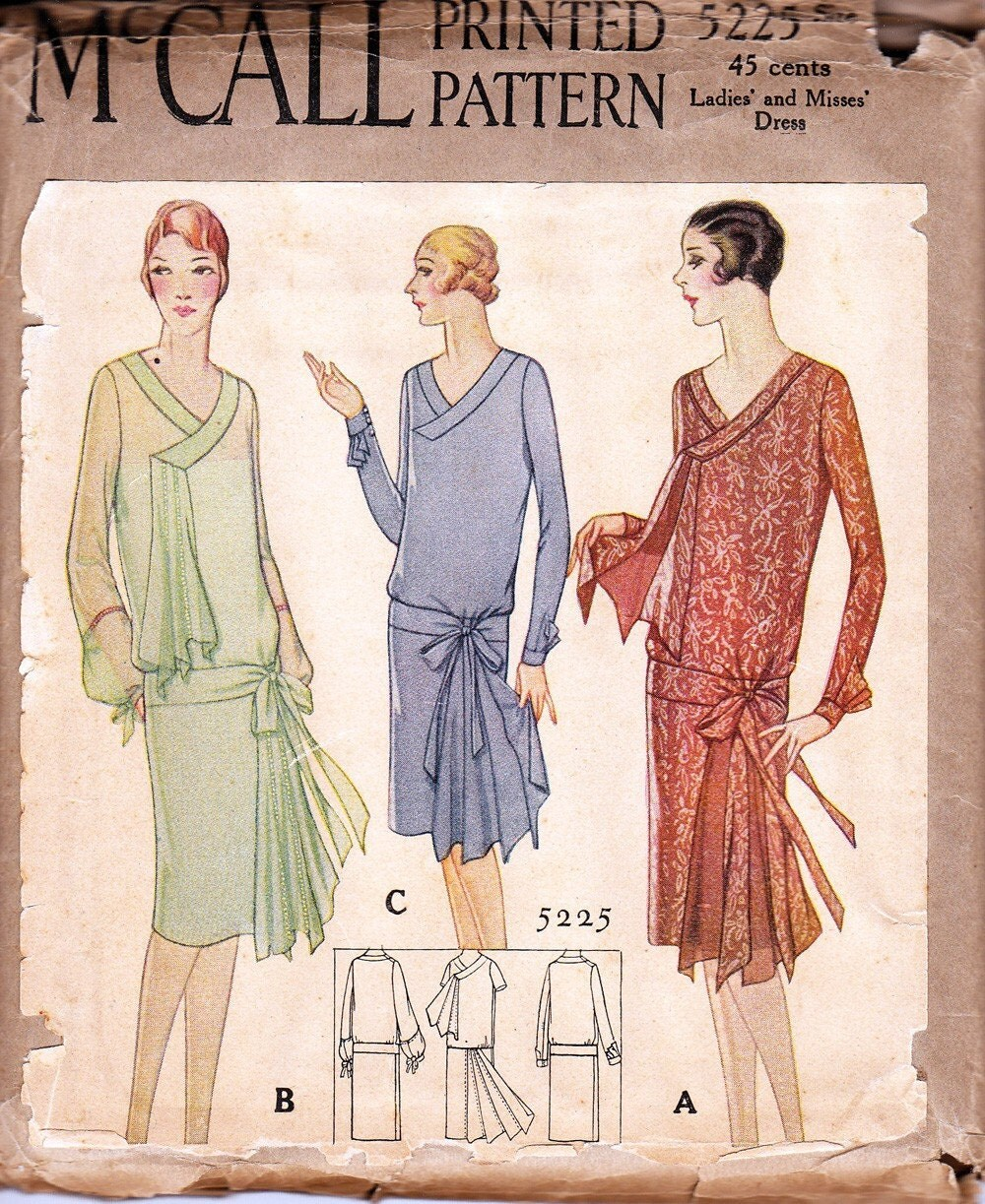 Vintage 1920s dress pattern McCall 5225