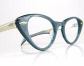 Vintage 50s Blue Cat Eye Eyeglasses or Sunglasses Shuron