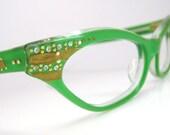 Vintage 50s 60s French Green Eyeglasses Frame