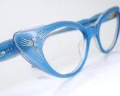 Vintage Blue 50s Cat Eye Glasses Sunglasses Eyewear Frame France NOS