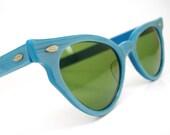 Vintage 50s Blue Cat Eye Sunglasses Very Unique Never Worn