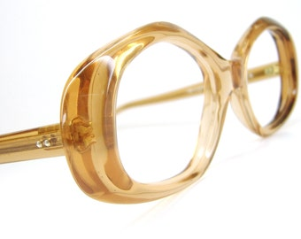 Vintage 60s Peach Cat Eye Eyeglasses  Frame NOS