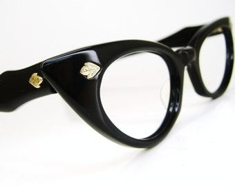 Vintage Eyewear 50s Cat Eye Eyeglasses Frame with Leaf Accents
