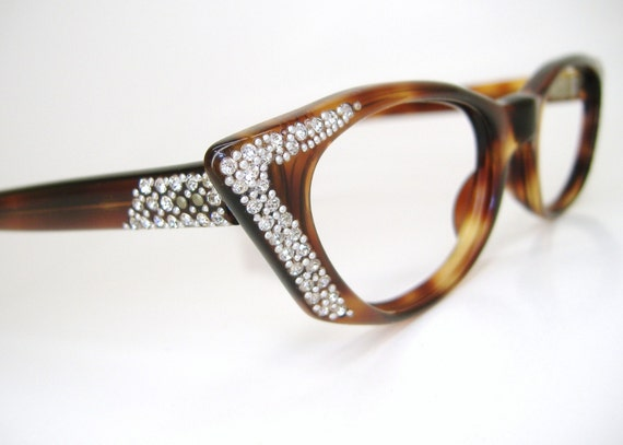 Beautiful Womens Tortoise Rhinestone France Cat eye Eyeglasses