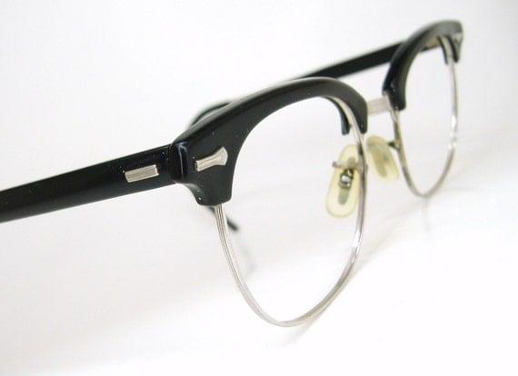 Vintage Mens Nerd Emo Black Shuron Horn Rim Eyeglasses Frame 1950s 1960s