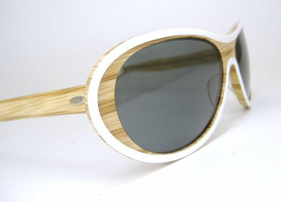 Vintage 60 70s Wood Look  Suntimer Sunglasses