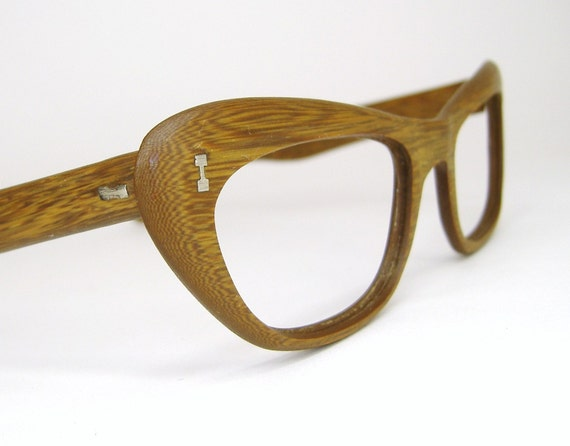 vintage teak wood grain cat eye eyeglasses frame