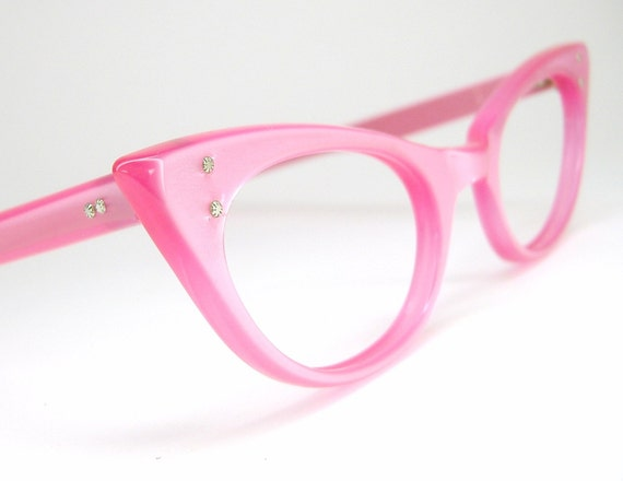 vintage eyeglasses pink pointy cat eye frame nos