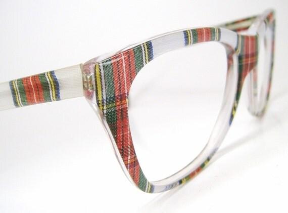 Vintage 80s Plaid Nerd Eyeglasses or Sunglasses