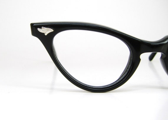 Vintage 50s Black Cat Eye Eyeglasses Frame  NOS