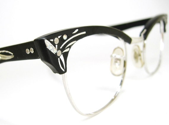 Cat Eye Frame Glasses Philippines : Black Cat Glasses 1950s Eyeglasses Frame 12K GF Never Worn
