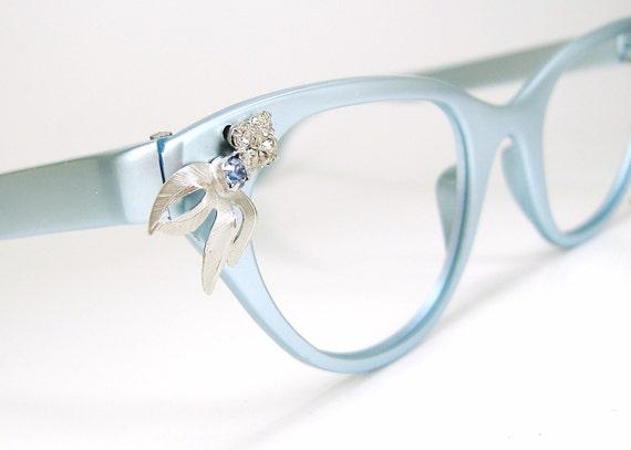 Vintage 50s Tura  Cat Eye Eyeglasses Frame NOS Blue and Silver