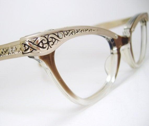 Vintage 50s Glasses Cat Eye Eyeglasses Frame Filigree Never Worn