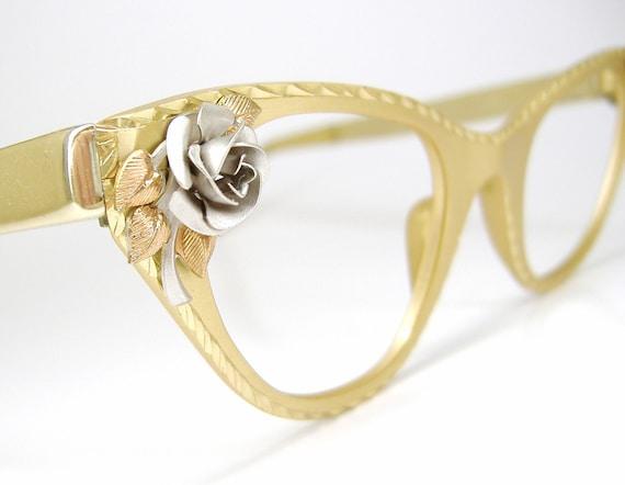 Vintage Tura Cat Eye Eyeglasses Frame with Silver Rose NOS