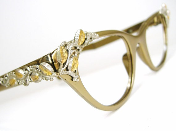 Vintage Eyeglass Frames Cat Eye : Vintage Cat eye Eyeglasses Frame 1950s 1960s Tura Leaves and