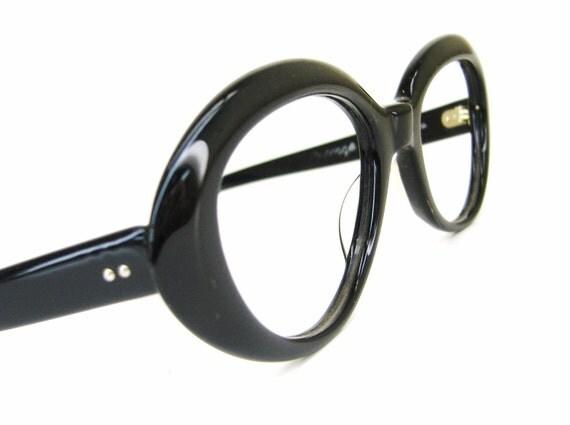 Vintage 60s Black Oval Cat eye Eyeglasses Frame NOS