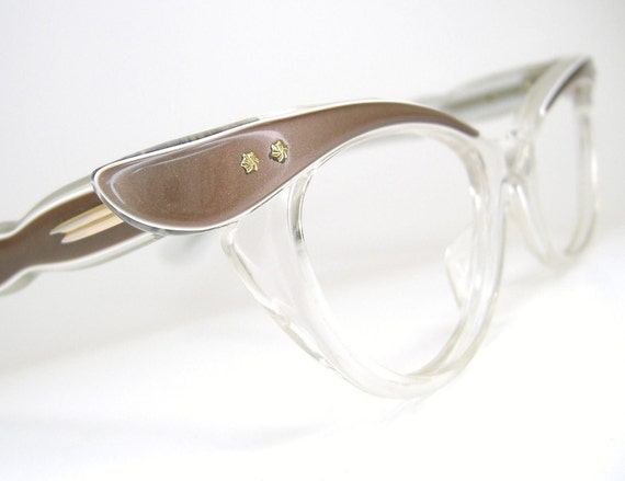 Vintage 50s Cat Eye Glasses or Sunglasses Winged Frame Beige and Clear  NOS