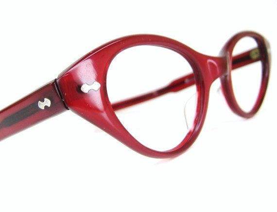 Vintage Red Hot 1950s Cat eye Eyeglasses Sunglasses Eyewear Frame France NOS