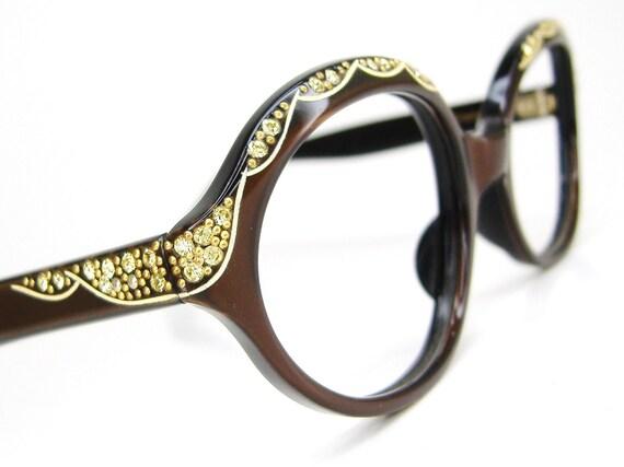 Vintage 60s Oval Cateye Eyeglasses Frame With Yellow Rhinestones NOS Eyewear