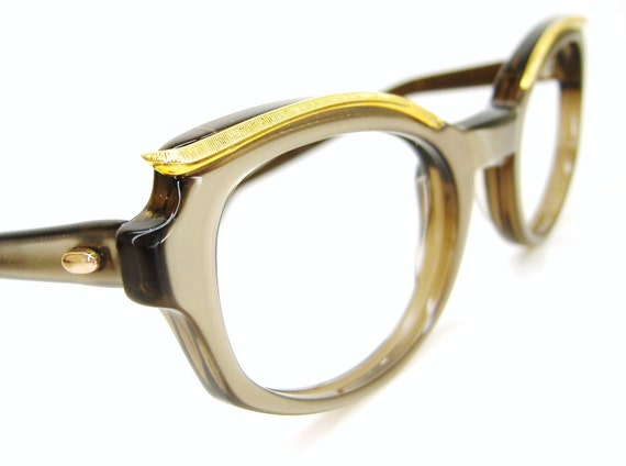 Vintage Cat eye Eyeglasses Sunglasses Eyewear Frame With Gold Brow Accents
