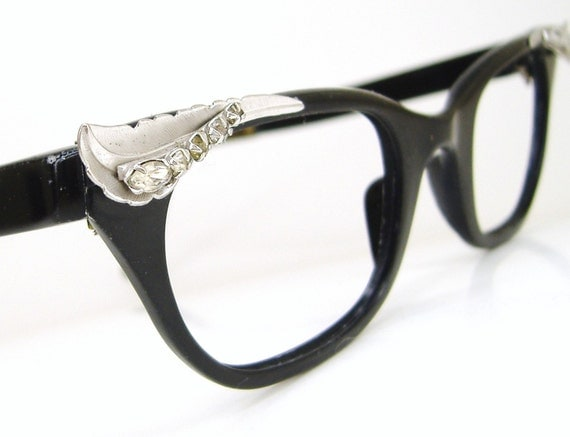 Vintage Black Cat Eye Eyeglasses Frame with Rhinestones