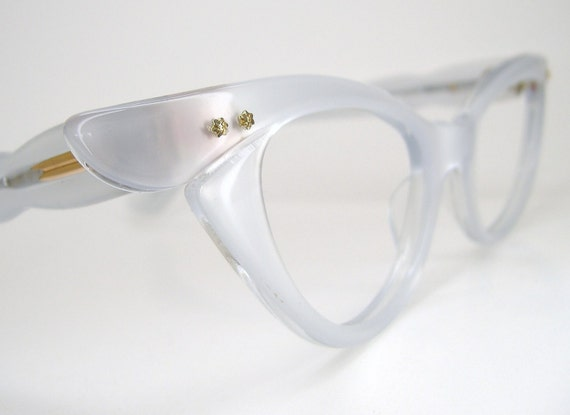Vintage 50s Winged Pearl White Cat Eye Eyeglasses or Sunglasses Frame France NOS