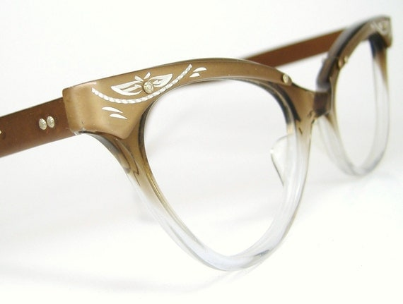 RESERVED  Cat Eye Glasses Eyeglasses Brown Clear Fades