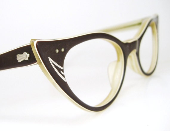 Vintage 50s Brown Cat Eye Eyeglasses Eyewear Frame