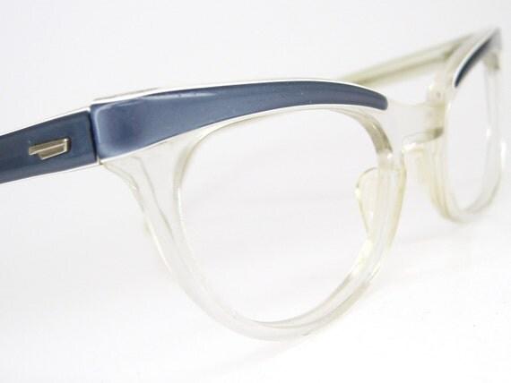 Vintage 50s Blue Cat Eye Eyeglasses Sunglasses Shuron Frame