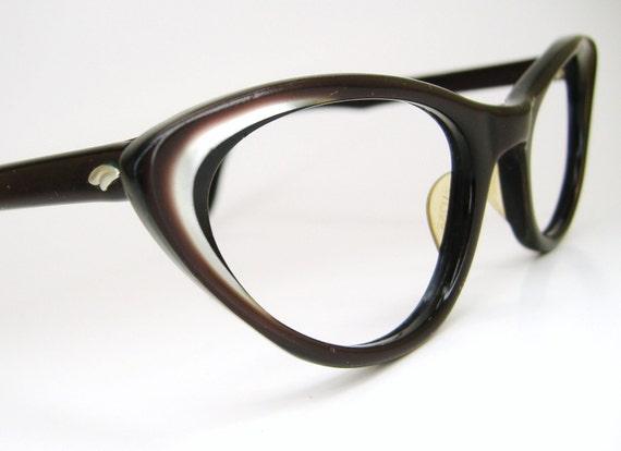 Vintage 60s Satin Brown Cat Eye Eyeglasses  Swan Frame