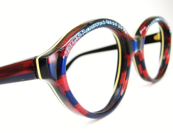Vintage Christian Dior Rhinestone Eyeglasses Sunglasses Red