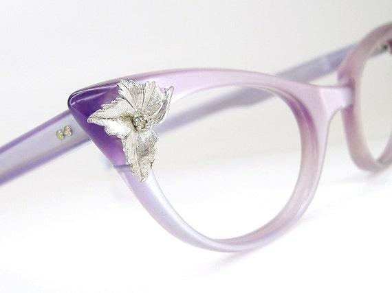 Vintage 50s Cat Eye Glasses Eyeglasses Purple Iridescent Frame  NOS