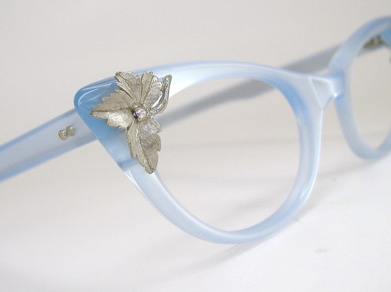 Vintage 50s Cat Eye Glasses Eyeglasses Satiny Blue Frame  NOS
