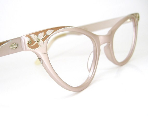 RESERVED Vintage 50s Pink Cat Eye Glasses Eyeglasses 1950s Art Craft Frame