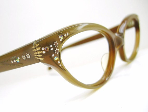 Vintage French Cat Eye Eyeglasses Sunglasses with Aurora Rhinestones