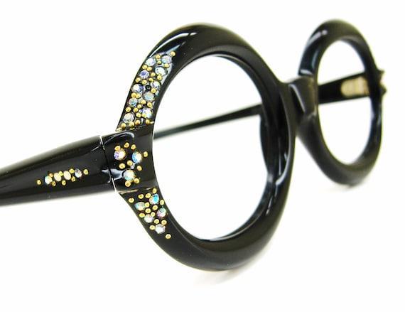 Vintage 60s Black Glasses Eyeglasses or Sunglasses Frame Rhinestones NOS Semi round