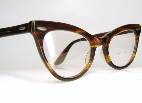 Vintage Shuron Eyeglass Frames : Vintage 1950s Shuron Tortoise Cat Eye Eyeglasses