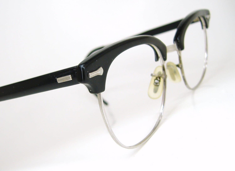 Vintage 50s Eyeglass Frames Mens : Vintage Mens Nerd Emo Black Shuron Horn Rim Eyeglasses Frame
