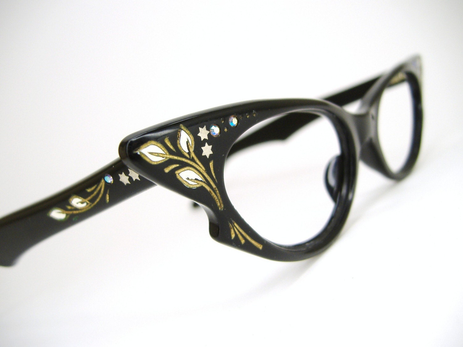 Cat Eye Frame Eye Glasses : Sexy Black Cat eye Eyeglasses Frame 1950s by Vintage50sEyewear