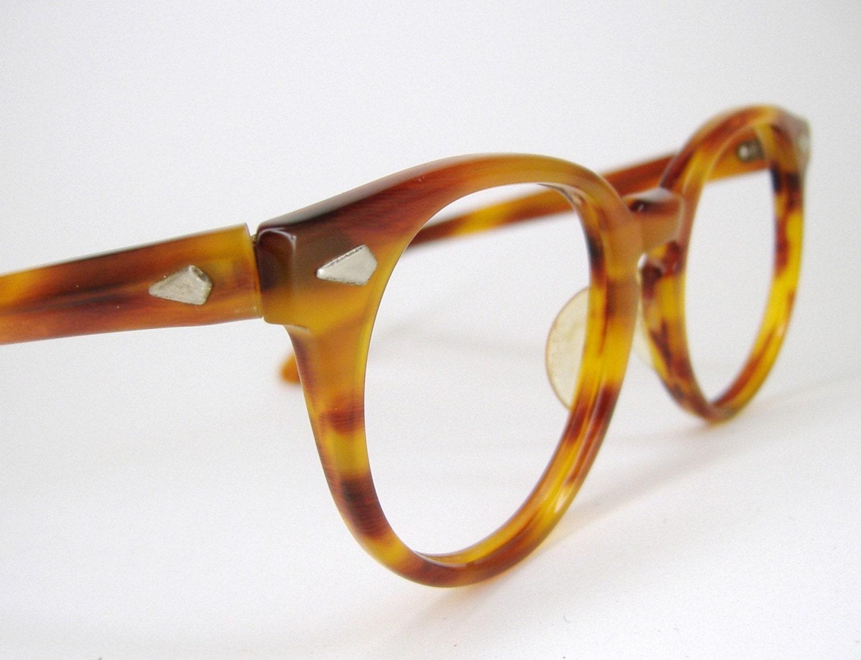Vintage Mens Round Tortoise Liberty Eyeglasses Frame