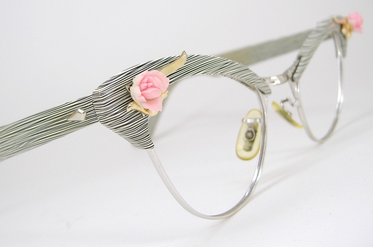 Vintage Eyeglass Frames Cat Eye : Vintage Womens 50s Rose Cat Eye Eyeglasses Eyewear AO Frame
