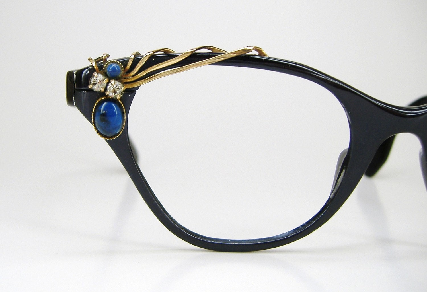Vintage Glasses Frames Cat Eye : Vintage 50s Blue Cat Eye Eyeglasses Frame