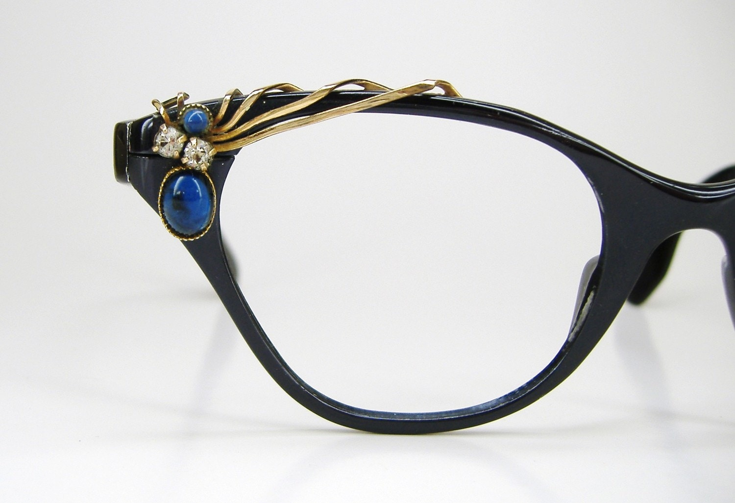 Cat Eye Frame Eye Glasses : Vintage 50s Blue Cat Eye Eyeglasses Frame by Vintage50sEyewear