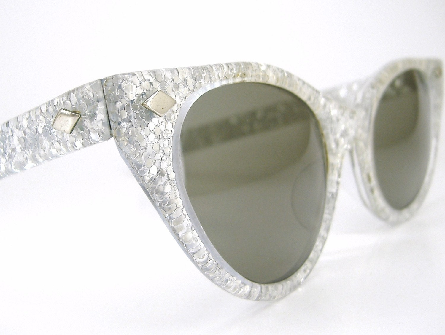 Vintage 50s Cat Eye Eyeglasses Silver Glitter Sunglasses Frame