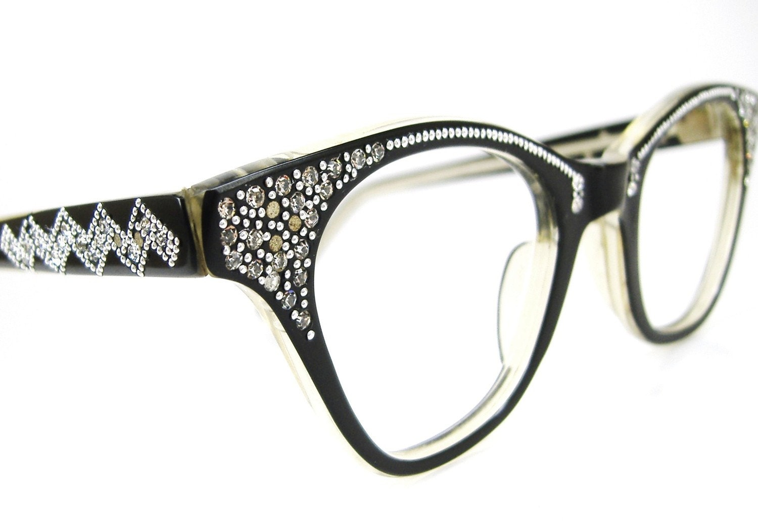 Glasses Frame Discoloration : Vintage 50s Black Cat eye Eyeglasses Frame by ...