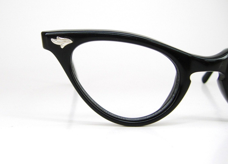 Vintage 50s Black Cat Eye Eyeglasses Frame NOS