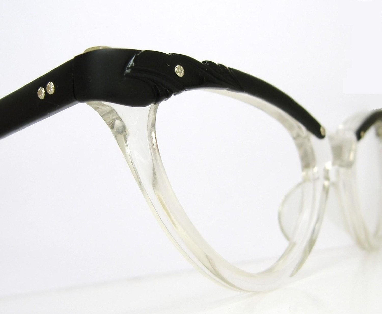 vintage 50s black cat eye eyeglasses frame never worn