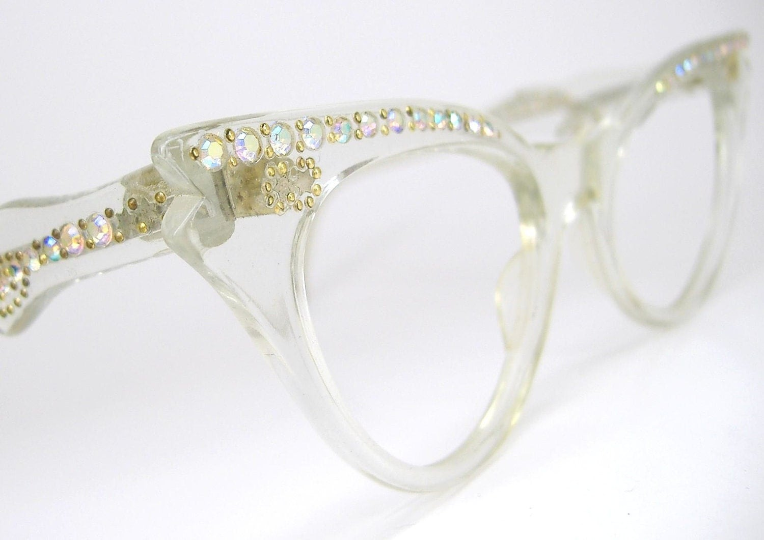 Glasses Frames With Bling : Vintage 1950s French Rhinestone Eyeglasses Frames