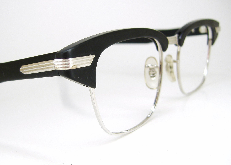 Vintage 50s Eyeglass Frames Mens : Vintage Mens 50s Black Browline Eyeglasses Frame NOS Never